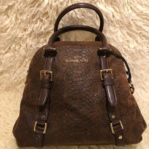 Michael Kors Bedford  Bowling Bag Brown Snake Skin